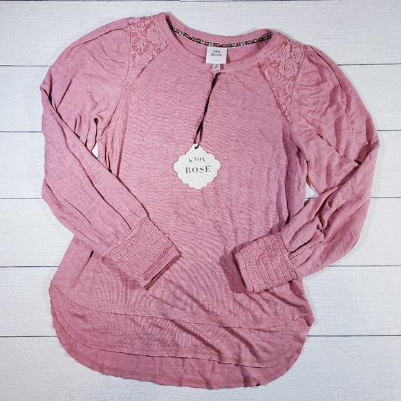 Knox Rose Pink Boho Lace Detail Pullover Sweater